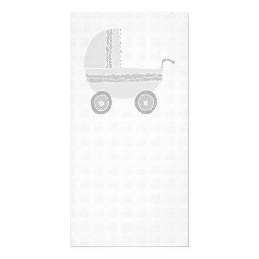 Light gray and white baby pram. photo card