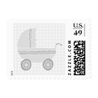 Light gray and white baby pram. postage
