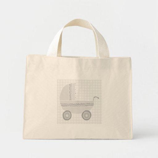 Light gray and white baby pram. tote bags
