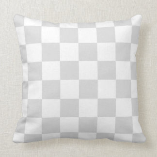 Light Gray and White Checker Pattern Throw Pillow