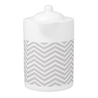 Light Gray and White Chevron Stripes Pattern Teapot
