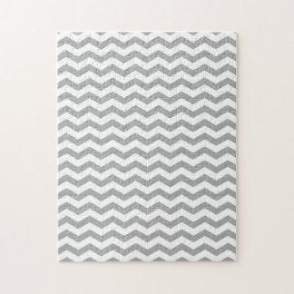 Light Gray and White Chevron Stripes Puzzle