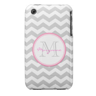 Light Gray and White Chevron with monogram Case-Mate iPhone 3 Cases