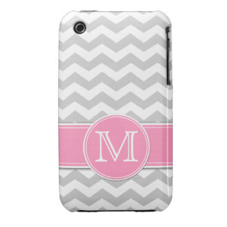 Light Gray and White Chevron with monogram iPhone 3 Case-Mate Cases