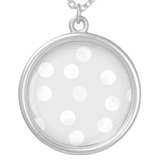 Light gray and white dotty pattern personalized necklace
