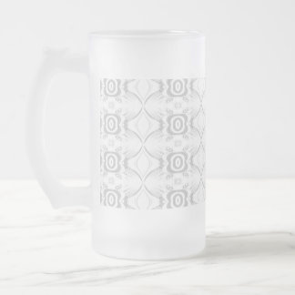 Light Gray and White Elegant Flower Pattern. Frosted Glass Beer Mug