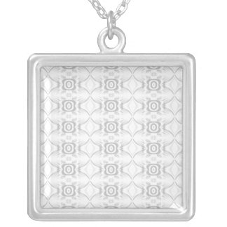 Light Gray and White Elegant Flower Pattern. Square Pendant Necklace