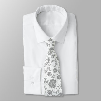 Light Gray And White Floral Damasks Tie