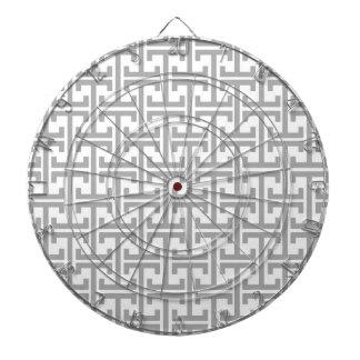 Light Gray and White Geometric Pattern Dartboard