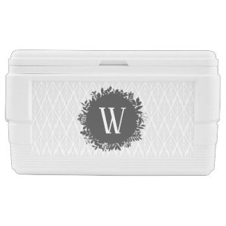 Light Gray and White Leafy Pattern Monogram Cooler