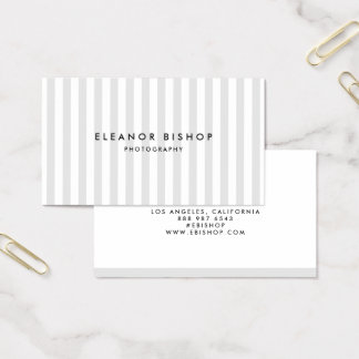Light Gray and White Pinstripes Pattern Modern Business Card