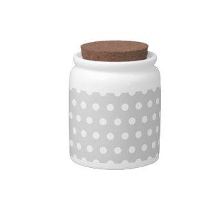 Light Gray and White Polka Dot Pattern. Candy Jar
