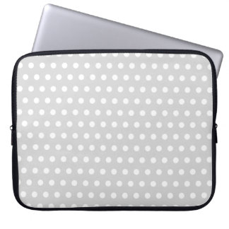 Light Gray and White Polka Dot Pattern. Computer Sleeve
