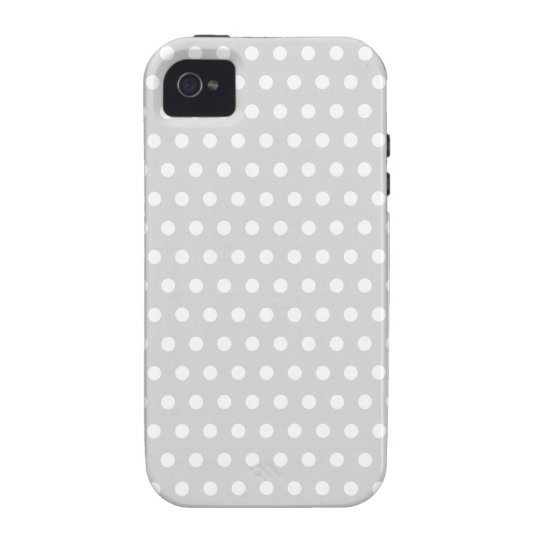 Light Gray and White Polka Dot Pattern. iPhone 4 Case