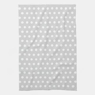 Light Gray and White Polka Dot Pattern. Kitchen Towel