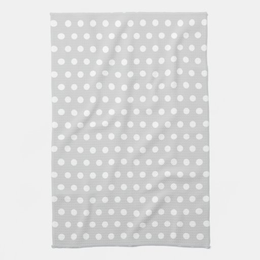 light gray and white polka dot pattern kitchen towel zazzle. Black Bedroom Furniture Sets. Home Design Ideas