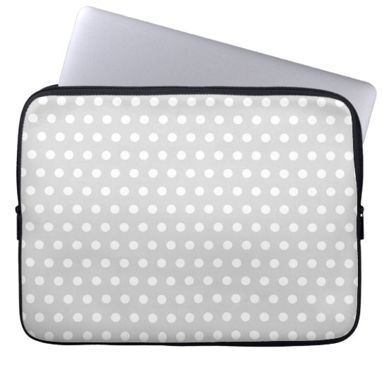 Light Gray and White Polka Dot Pattern. Laptop Sleeve