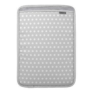 Light Gray and White Polka Dot Pattern. MacBook Air Sleeves