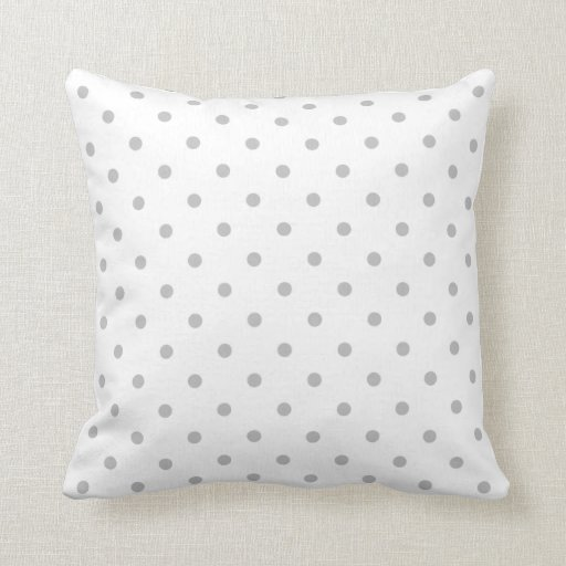 Light Grey Throw Pillow : Light Gray and White Polka Dot Pattern. Throw Pillows Zazzle