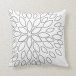 Light Gray and White Retro Flower Throw Pillows