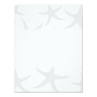 Light Gray and White Starfish Pattern. 4.25x5.5 Paper Invitation Card