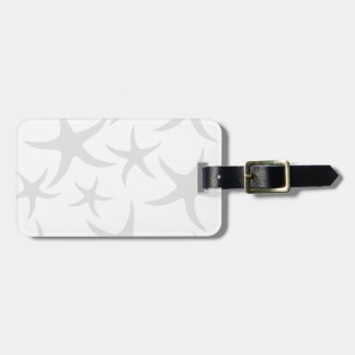 Light Gray and White Starfish Pattern. Luggage Tag