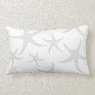 Light Gray and White Starfish Pattern. Lumbar Pillow