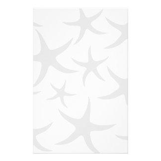 Light Gray and White Starfish Pattern. Stationery