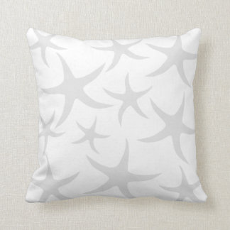 Light Gray and White Starfish Pattern. Throw Pillow
