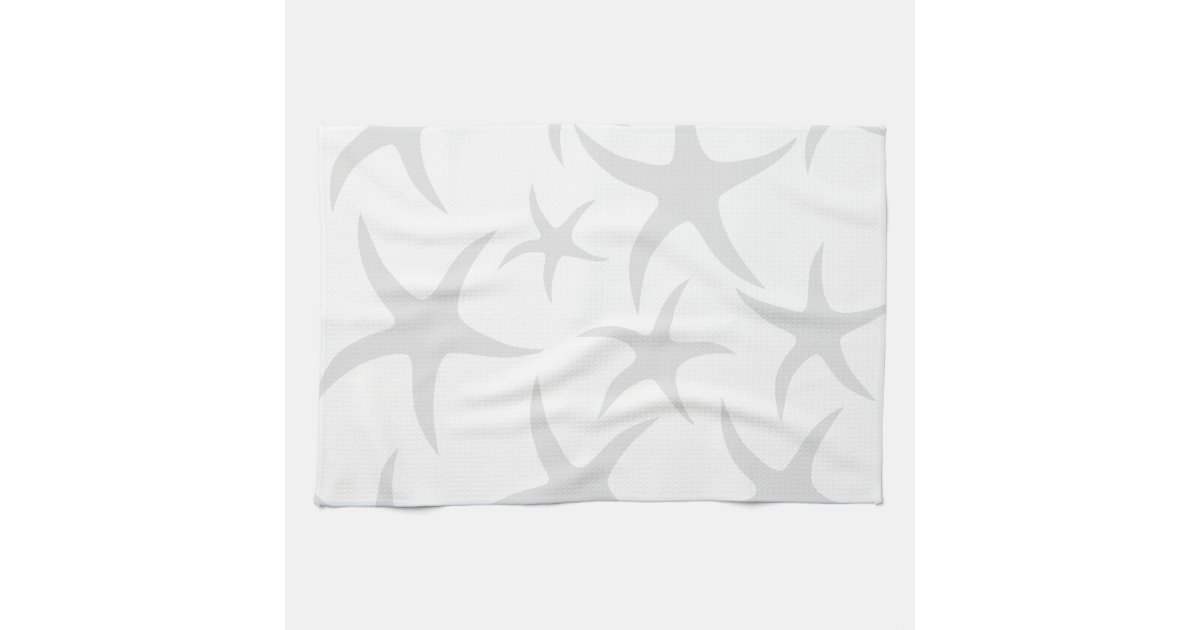 light gray and white starfish pattern towels zazzle. Black Bedroom Furniture Sets. Home Design Ideas