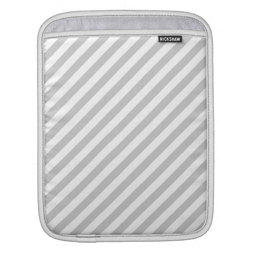 Light Gray and White Stripes. iPad Sleeves