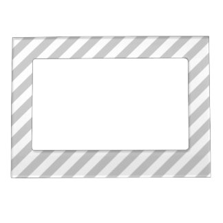 Light Gray and White Stripes. Magnetic Photo Frame