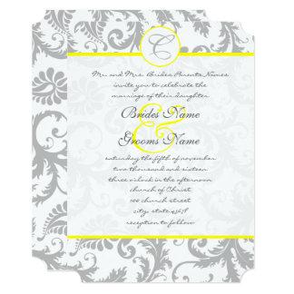 Light Gray and Yellow Damask Wedding Invitation