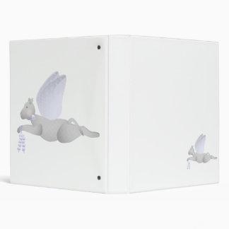 Light Gray Angel Cat With Blue Wings Vinyl Binders