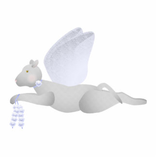 Light Gray Angel Cat With Blue Wings Photo Sculpture Ornament