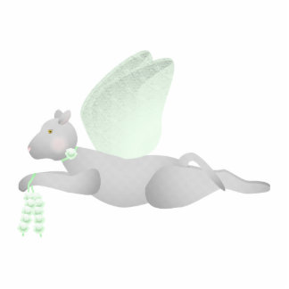 Light Gray Angel Cat With Green Wings Photo Sculpture Ornament