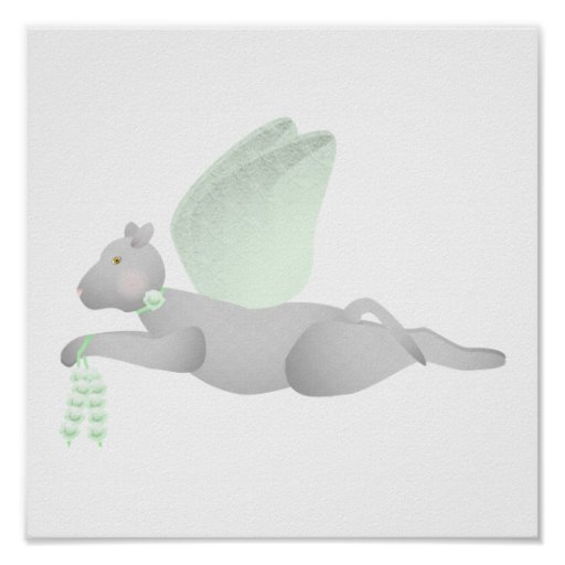 Light Gray Angel Cat With Green Wings Poster