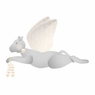 Light Gray Angel Cat With Orange Wings Photo Sculpture Ornament