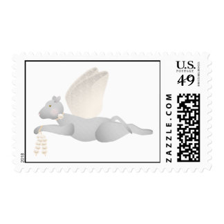 Light Gray Angel Cat With Orange Wings Stamp