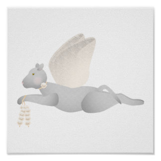Light Gray Angel Cat With Orange Wings Poster