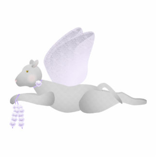 Light Gray Angel Cat With Purple Wings Photo Sculpture Ornament