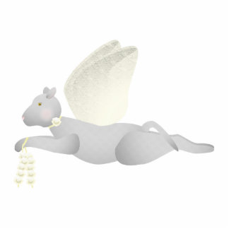 Light Gray Angel Cat With Yellow Wings Photo Sculpture Ornament
