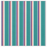 [ Thumbnail: Light Gray, Blue, Salmon, White, and Teal Pattern Fabric ]