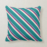 [ Thumbnail: Light Gray, Blue, Salmon, White, and Teal Pattern Throw Pillow ]