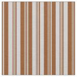 [ Thumbnail: Light Gray & Brown Lines Fabric ]