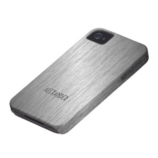 Light Gray Brushed Steel Metal Look-Monogram iPhone 4 Case-Mate Cases