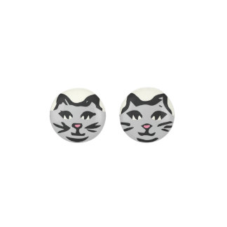 LIGHT GRAY CAT With Black Whiskers Earrings