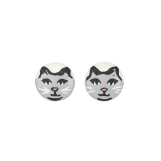 LIGHT GRAY CAT With White Whiskers Earrings
