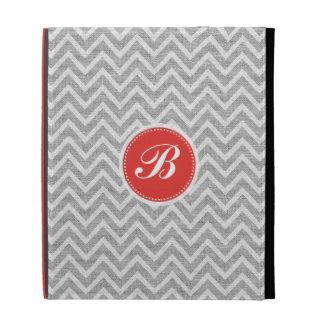 Light Gray Chevron Pattern Linen Look Monogram 2a iPad Case