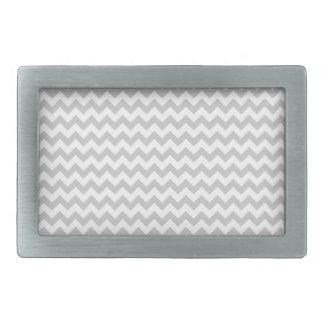 Light Gray Chevron (thin lines) Pattern Rectangular Belt Buckle